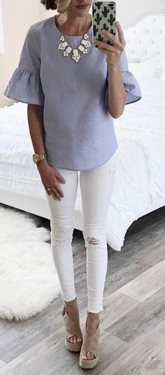 #summer #outfits Blue Bell Sleeve Top + White Ripped Skinny Jeans