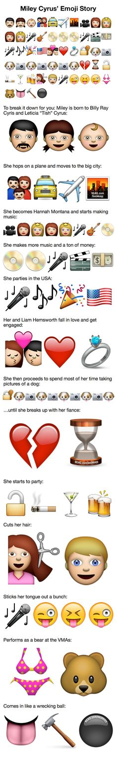 Miley Cyrus' Emoji Story. Someone clearly had way too much time on their hands.