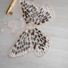 beaded butterfly ♦F&I♦ Tambour Beading, Tambour Embroidery, Couture Embroidery, Embroidery Applique, Beaded Embroidery, Hand Embroidery Designs, Embroidery Stitches, Embroidery Patterns, Butterfly Embroidery
