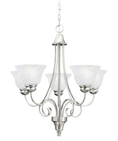 brushed nickle dining room light fixtures hanging | Brushed Nickel Syracuse Traditional / Classic 5 Light Chandelier ...