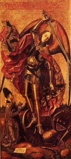 Bartolomé Bermejo. St. Michael Slaying the Dragon.  I have always loved that weird robot dragon imp.
