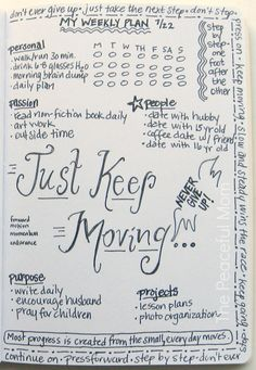 Get Organized with a Weekly Plan! My Weekly (just keep moving) Plan 2013-7-22--The Peaceful Mom #organize