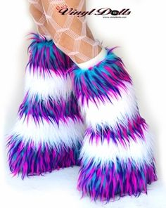 Rave Fluffies - Striped - Monster UV Blue Pink Purple / White Fur