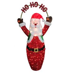 Holiday Living 5 Ft Lighted Santa Freestanding Sculpture Outdoor Christmas Decoration With White Incandescent Lights