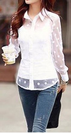 sheer dot button down shirt