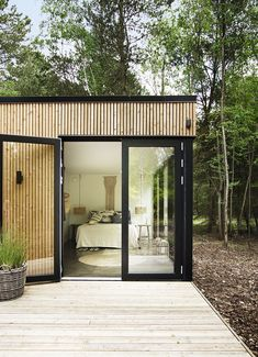 From the bedroom there is direct access to the big terrace. Tiny House, Inviting Home, Garden Studio, Space Interiors, Facade House, Minimalist Home, Decoration, Gazebo, New Homes