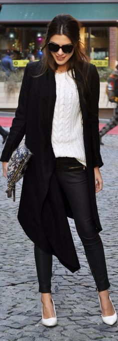 White cable knit, black everything else.