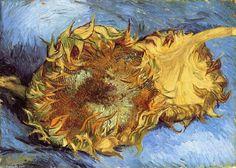 """""""stillleben mit zwei sonnenblumen"""", öl auf leinwand von Vincent Van Gogh (1853-1890, Netherlands)"""
