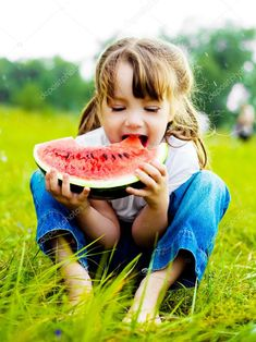 Girl eating watermelon - Stock Photo , #SPONSORED, #eating, #Girl, #watermelon, #Photo #AD