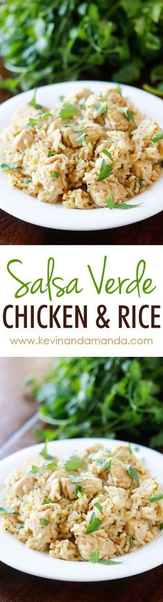 So easy! Only four ingredients. Chicken, rice, salsa verde, and chicken broth (or water). All cooks in one pot, even the rice! Perfect for a quick and easy weeknight meal.