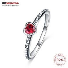 Lzeshine 2016 nueva 3 colores 100% 925 anillo de plata esterlina amor Romántico Del Corazón Del Anillo de Dedo para Las Mujeres Joyería de La Boda bague SRI0024