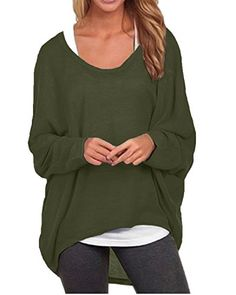 b9dc0777ca1 cool ZANZEA Women s Sexy Long Batwing Sleeve Loose Pullover Casual Top  Blouse T-Shirt Batwing