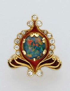 Art Nouveau Black Opal, Gold, Diamond And Enamel Ring.