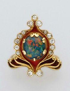Art Nouveau Black Opal, Gold, Diamond And Enamel Ring.
