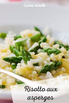 La recette du risotto aux asperges #cuisineactuelle #risotto #asperges Rissoto, Ethnic Recipes, Food, Asparagus, Snap Peas, Meal Ideas, Essen, Meals, Yemek