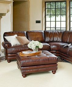 Brett Leather Sectional Living Room Furniture Collection I have both sectional and ottoman and LOVE them!