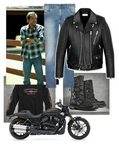"""""""Jeffrey Dean Morgan"""" by naviaux ❤ liked on Polyvore featuring Axel, FAY, Yves Saint Laurent, Harley-Davidson, men's fashion and menswear"""