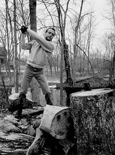 tamworthlyceum:  wood-is-good:  Paul Newman photographed by Philippe Halsman chopping wood, 1963.  #poler #polerstuff #campvibes