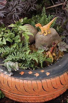 Dinosaur garden instead of a fairy garden! Hudson and Evie would love it 🦖🦕 Garden Crafts, Garden Projects, Garden Art, Tyre Garden, Fairies Garden, Fairy Gardens, Garden Ideas Children, Baby Garden Ideas, Gardens For Kids