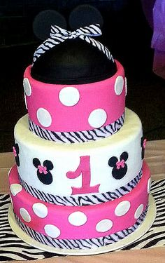 Minnie Mouse - pink and zebra 1st birthday cake!