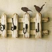 picket fence coat rack - way too expensive to buy on this site, but I bet I could make one similar to this...