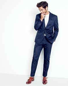 J.Crew men's Crosby suit jacket in Italian chino,  broken-in pocket T-shirt, Crosby suit pant in Italian chino and Alfred Sargent™ for J.Crew double monk strap shoes. To pre-order, call 800 261 7422 or email verypersonalstylist@jcrew.com.