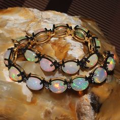Watch Video Natural Ethiopian Welo Fire Opal Cabochon Bracelet Jewelry 73