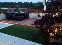 Early evening on roof terrace with LED lighting