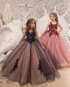 Ball Gown Flower Girl Dresses For Weddings Vestidos Daminha 18 Kids Evening Pageant Gowns First Communion Dresses For Girls Pink Flower Girl Dresses, Little Girl Dresses, Lace Flower Girls, Gowns For Girls, Girls Dresses, Cute Dresses, Beautiful Dresses, Formal Dresses, Baby Dress