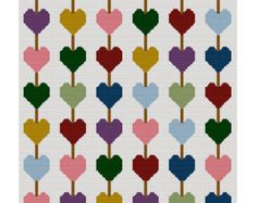 INSTANT DOWNLOAD Chained Hearts Crochet Afghan Pattern Graph Use Scraps Leftover Yarn