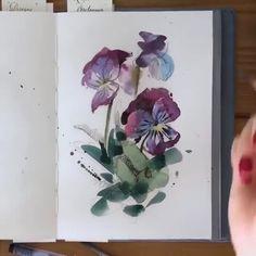 """-on painting a watercolor. Watercolor Video, Pen And Watercolor, Watercolour Tutorials, Watercolor Illustration, Watercolour Painting, Diy Painting, Watercolor Flowers, Painting & Drawing, Watercolor Pencils Techniques"