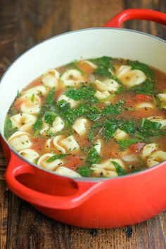 Want to try: Spinach Tomato Tortellini Soup - The easiest, most comforting and hearty soup ever. All you need is 5 min prep. SO EASY!