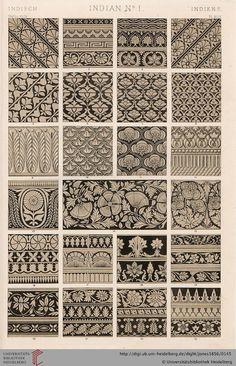 Tafel XLIX. India Plate (1 of 9). Owen Jones, The Grammar of Ornament.  Thanks to the University of Heidelberg digital library.