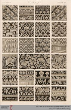 Tafel XLIX. India Plate (1 of 9). Owen Jones, The Grammar of Ornament.  Thanks to the University of Heidelberg digital library.