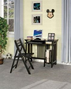 Computer Desk - Coaster 800775 by Coaster Home Furnishings. $228.16. Folding Chair included. Computer Desk with Chair. Features a pullout keyboard tray. Mission style design. Wooden construction with Black finish.. This compact computer desk set will be a nice addition to your home, easily folding up to save space. Perfect for a small room, dorm, or apartment, this desk has everything you need for efficient computer use. The smooth desk top will hold your computer.This item will...