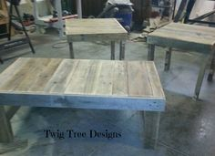 Set of coffee tables with end tables made from pallets