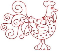 Red Work Rooster....love it!