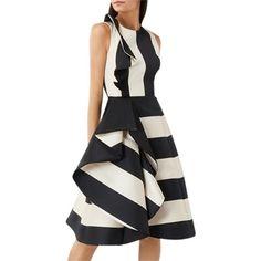 Coast Kemmy Ruffle Dress (1.025 RON) ❤ liked on Polyvore featuring dresses, floor length formal dresses, midi flare dress, stripe maxi dress, ruffled-sleeve dresses and ruffle maxi dresses