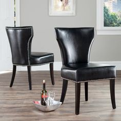 Safavieh Maria Dining Side Chairs - Black Leather - Set of 2 - MCR4706C-SET2