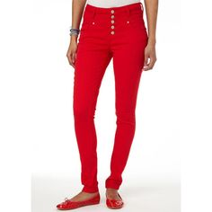 Red High Waist Skinny Jean ($15) found on Polyvore