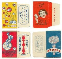 Fantastic retro graphics razor packages from via Letterology, all links to a gazillion at tuttoLamette.com