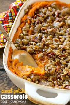 This SWEET POTATO CASSEROLE is creamy spiced sweet potatoes topped with an irresistible pecan brown streusel. The perfect side dish for any holiday or special occasion!