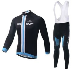 6362a3fca Black PRO TEAM Long Sleeve Cycling Jersey Set Men s Cycling