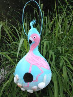 Upcycled Gourd Flamingo Birdhouse by SparksPainInTheGlass on Etsy, $23.00