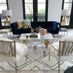 If you are looking for Velvet Living Room Furniture Ideas, You come to the right place. Below are the Velvet Living Room Furniture Ideas. Glam Living Room, Living Room Sofa, Living Room Interior, Blue Velvet Sofa Living Room, Blue Living Room Furniture, Black And Gold Living Room, Fancy Living Rooms, Blue Living Room Decor, Barn Living