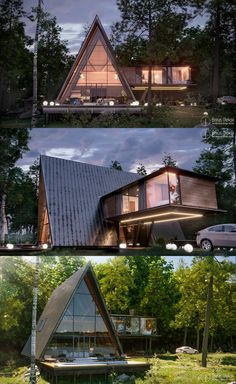 A Frame House Plans, A Frame Cabin, Residential Architecture, Modern Architecture, Pavilion Architecture, Japanese Architecture, Sustainable Architecture, Small Cabin Interiors, Triangle House