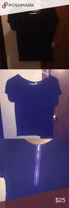 GAP Short-Sleeve Navy Blue Zip Up Top Brand New Without Tag  Brand: GAP Style: Short-Sleeve Tee Color: Navy Blue with royal blue around zipper on back (zipper is for closure) Material: 100% Rayon Size: XS GAP Tops Tees - Short Sleeve