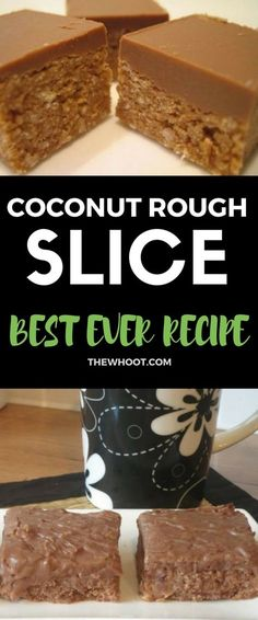 You will love this delicious Coconut Rough Slice Recipe and it is a real family favorite that is legendary. You will love this easy and delicious treat. It is made with simple ingredients. Yummy Treats, Delicious Desserts, Dessert Recipes, Sweet Treats, Diabetic Desserts, Drink Recipes, Yummy Food, No Bake Slices, Cake Slices