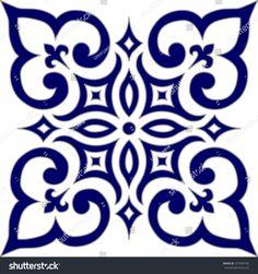 geometric islamic pattern arabesque blue white stock e22503153