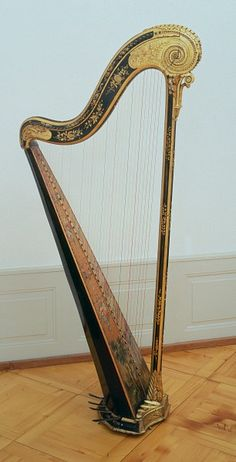 Single action harp  Unsigned attributed to Georges Cousineau, Paris, 1775 85 Compass 38 strings (El g3) seven pedals (left A, G, F, E, right D, C, B) sound box pine and maple, painted black; tuning pegs, pedals and mechanism iron strings, gut overall height 161.5 cm, width 40 cm, depth 79.5 cm #instrument #music #history #geschichte #basel #schweiz #switzerland #musik #museum #hmb